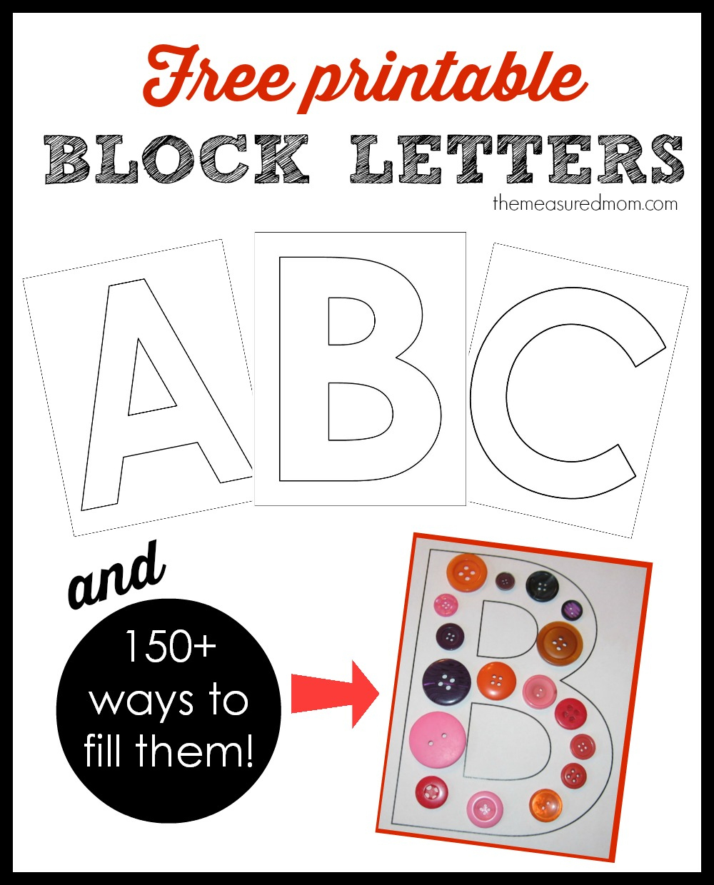 Printable Block Letters And Over 150 Ways To Fill Them! - The - Free Printable Large Uppercase Alphabet Letters