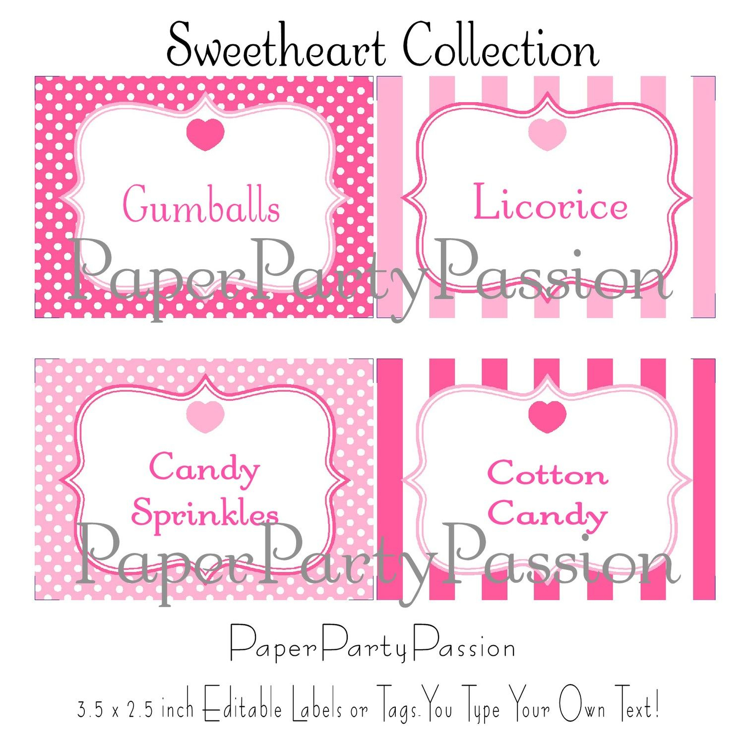 Printable Candy Buffet Template | Wedding Candy Bar Buffet Supplies - Free Printable Sweet 16 Labels