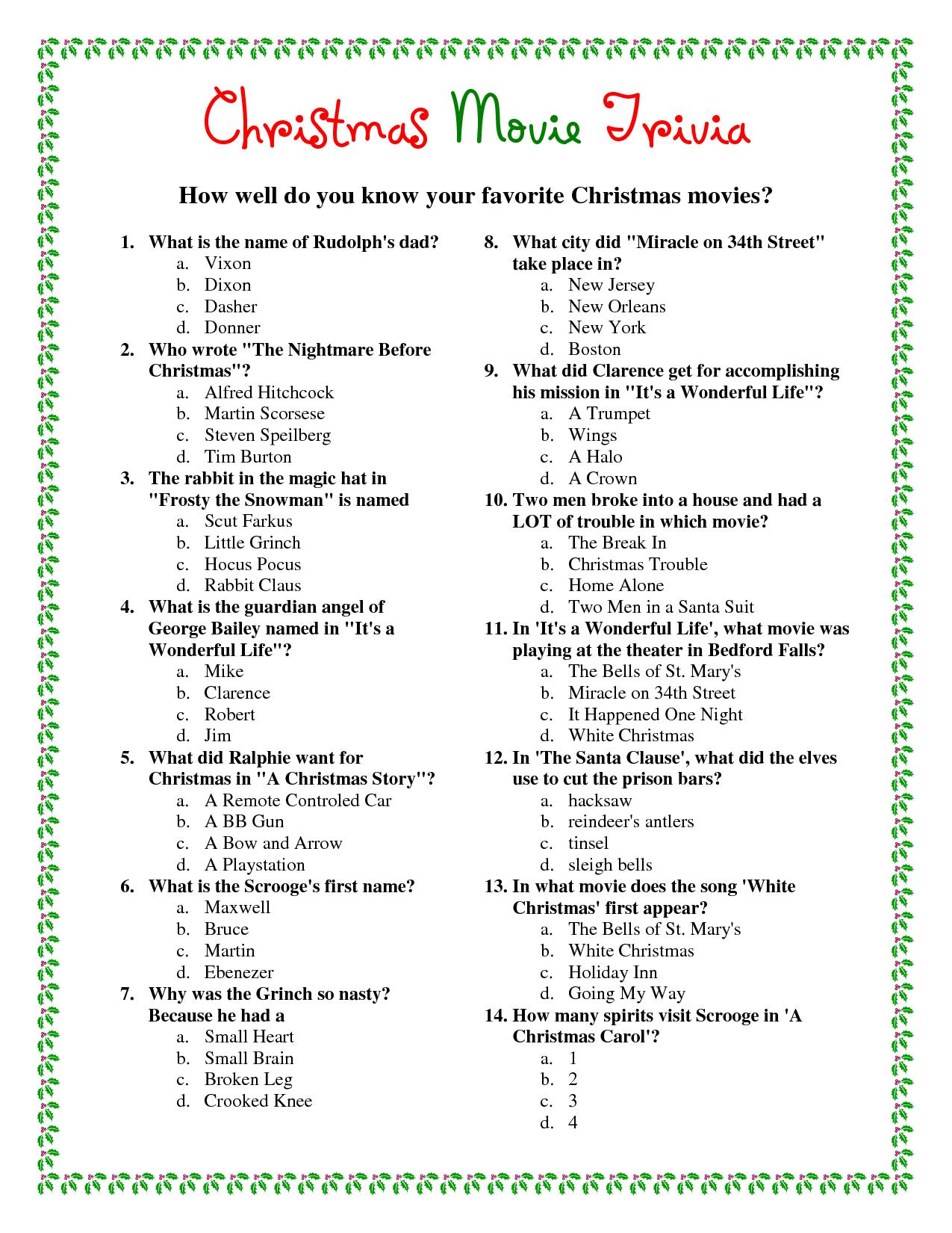 Printable Christmas Movie Trivia.pdf Download Legal Documents - Free Printable Christmas Trivia Quiz