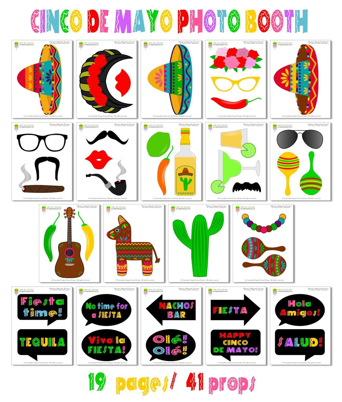 Printable Cinco De Mayo Photo Booth Props/ Mexican Fiesta Props In - Free Printable Cinco De Mayo Photo Booth Props