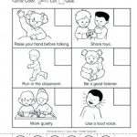 Printable Classroom Rules Worksheet Class Free For 5 Years Old Rule   Free Printable Classroom Rules Worksheets