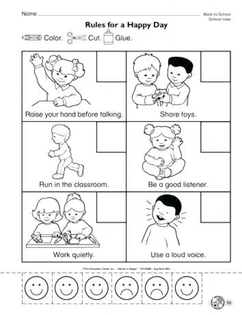 Printable Classroom Rules Worksheet Class Free For 5 Years Old Rule - Free Printable Classroom Rules Worksheets