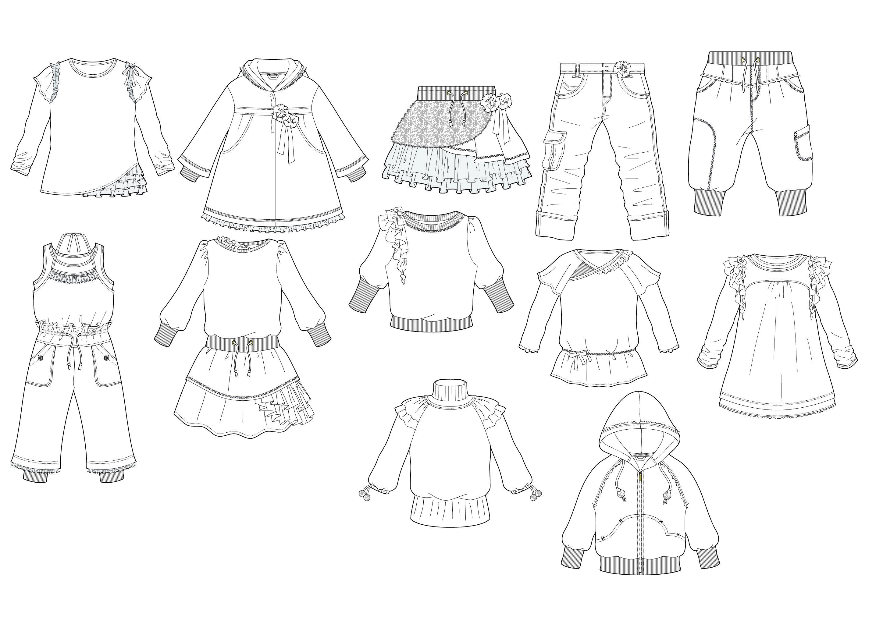 Printable Clothes Templates For Kids | Fashion Design Flat Sketches - Free Printable Fashion Model Templates