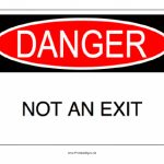 Printable Danger Not An Exit Sign Regarding Free Printable Not An   Free Printable Not An Exit Sign