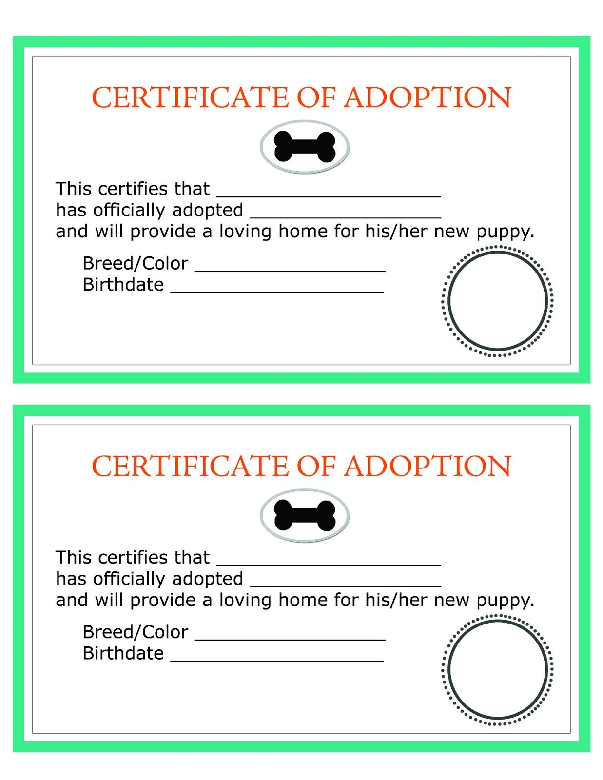 Printable Dog Birth Certificate Fresh Child Adoption Certificate - Free Printable Adoption Certificate