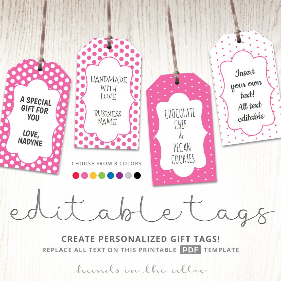 Printable Favor Tags | Polka Dot Labels | Editable Template | Hands - Free Printable Favor Tags
