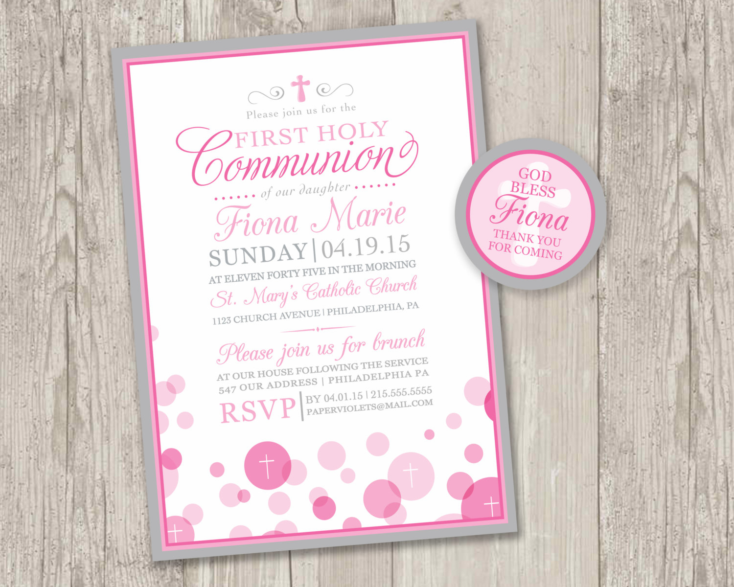 Printable : First Holy Communion Invitations & Free Matching | Etsy - Free Printable 1St Communion Invitations