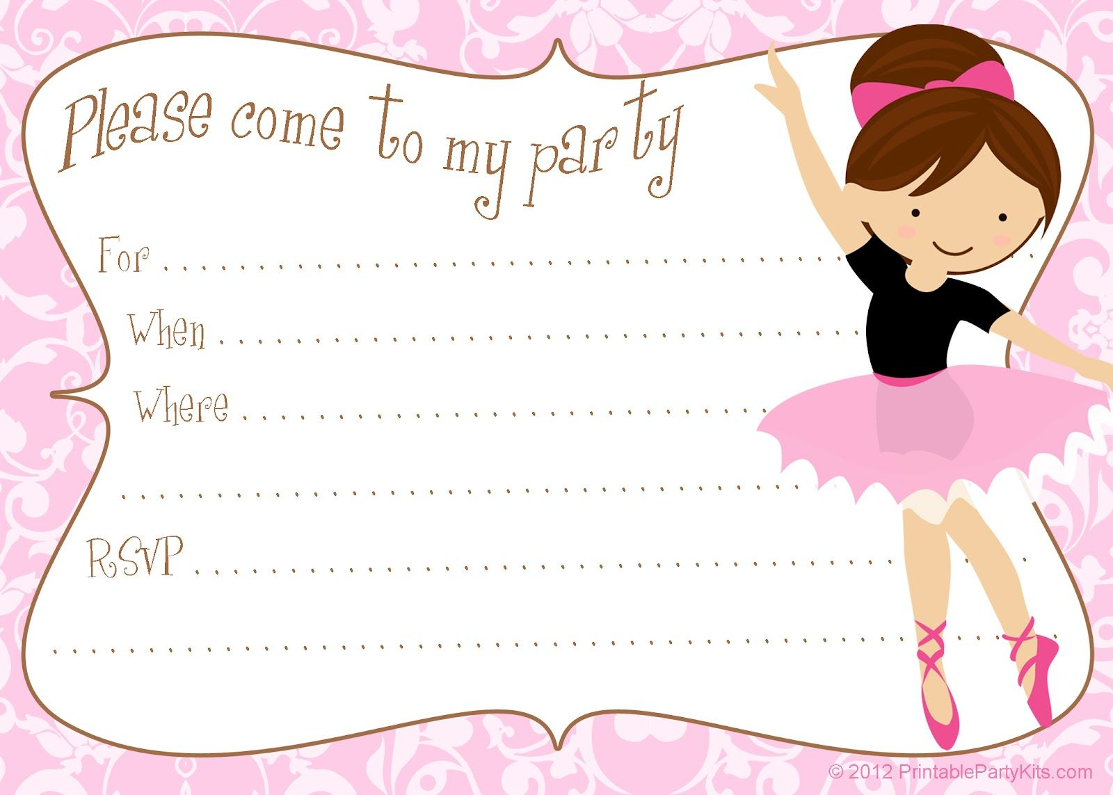 Printable Free Diy Ballerina Party Invitations | Party Printables - Free Printable Ballerina Birthday Invitations
