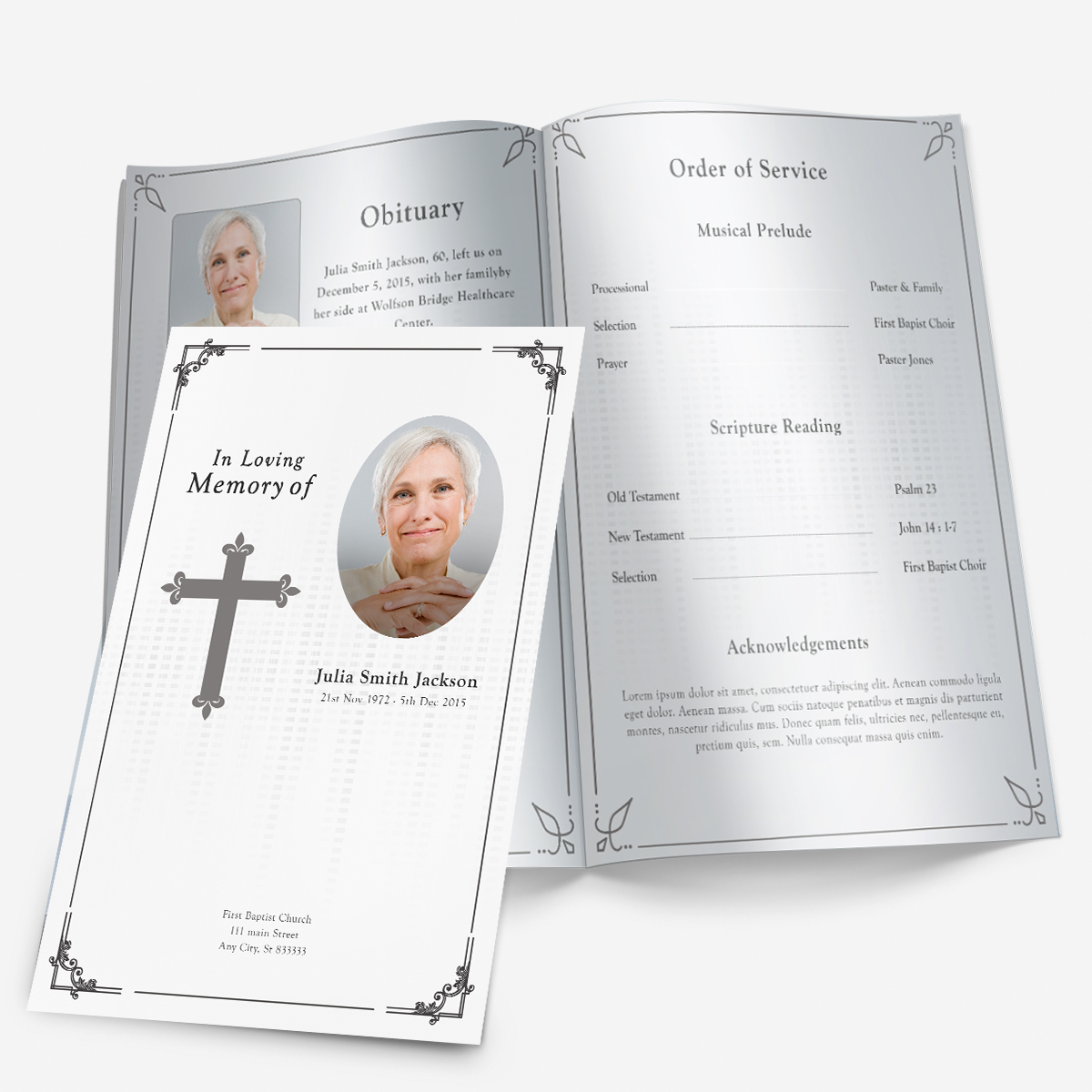 Printable Funeral Programs - Funeral Program Template - Funeral - Free Printable Funeral Programs
