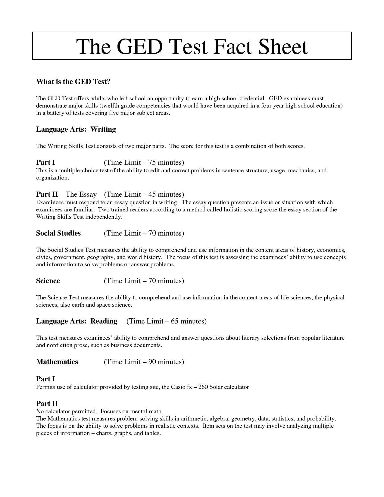 Printable Ged Reading Practice Test | Download Them Or Print - Free Printable Ged Worksheets