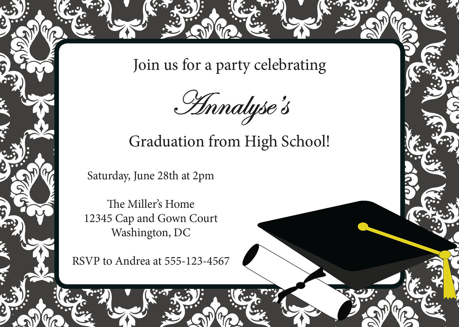 Printable Graduation Invitations Free | Download Them And Try To Solve - Free Printable Graduation Party Invitations