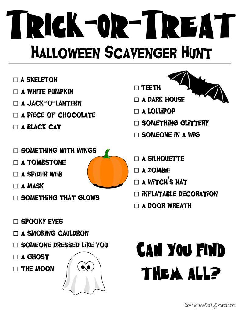 Printable Halloween Scavenger Hunt   The Dramatics   Halloween - Free Printable Halloween Scavenger Hunt
