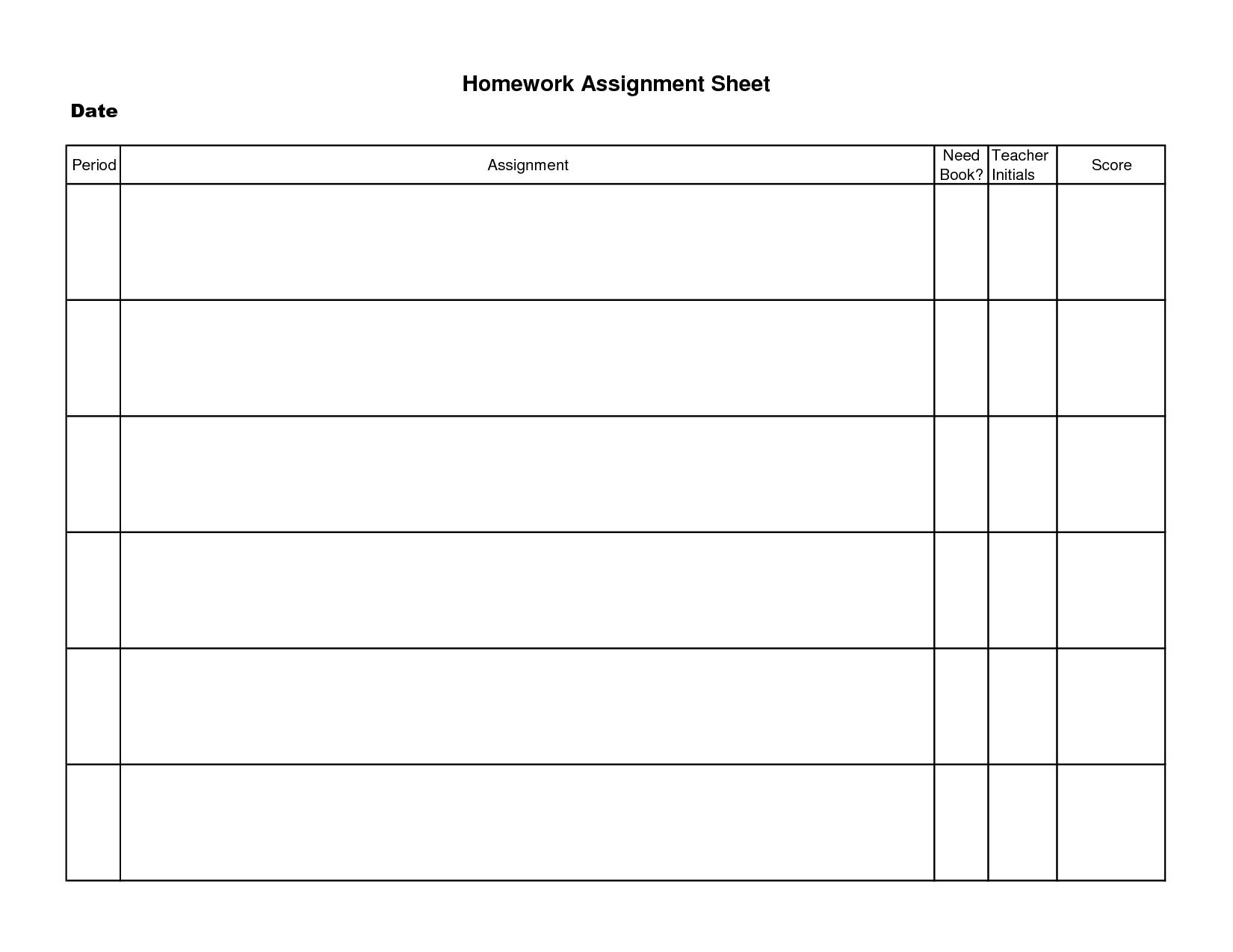 Printable Homework Assignment Sheet Template   Decrease Depression - Free Printable Homework Assignment Sheets
