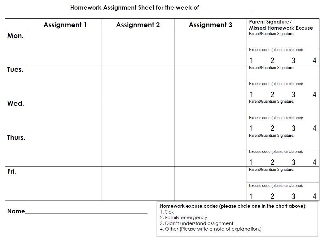 Printable Homework Sheets Weekly Calendar - 17.17.ybonlineacess.de • - Free Printable Homework Assignment Sheets