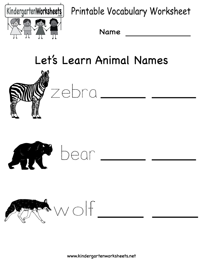 Printable Kindergarten Worksheets Vocabulary Worksheet English For 2 - Free Printable Ela Worksheets