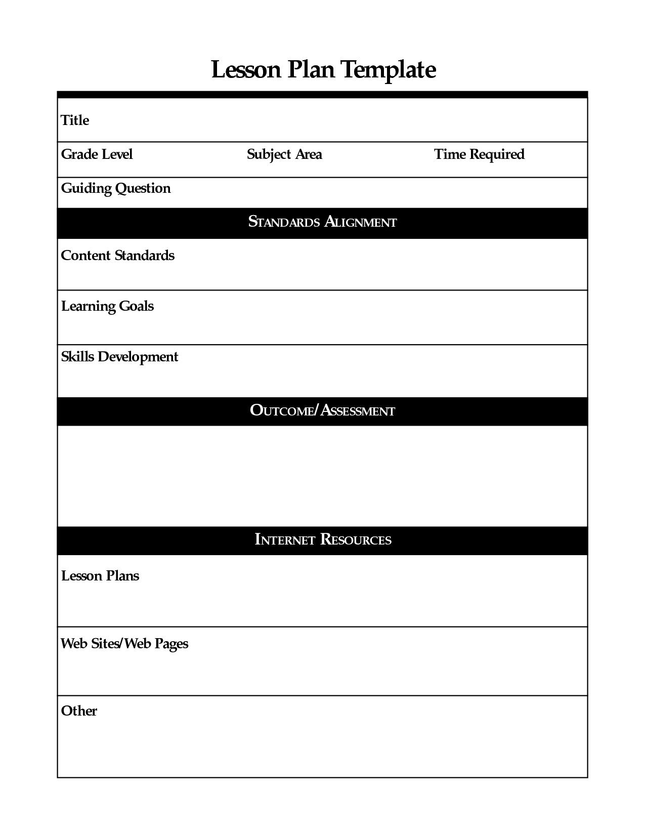 Printable Lesson Plan Template, Free To Download - Free Printable Blank Lesson Plan Pages