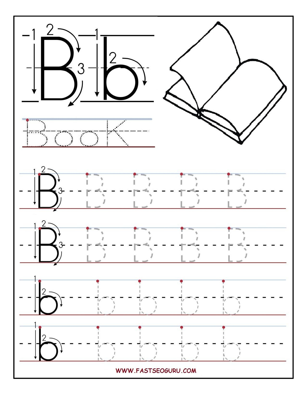 Printable Letter B Tracing Worksheets For Preschool | Letter Bb - Free Printable Traceable Letters