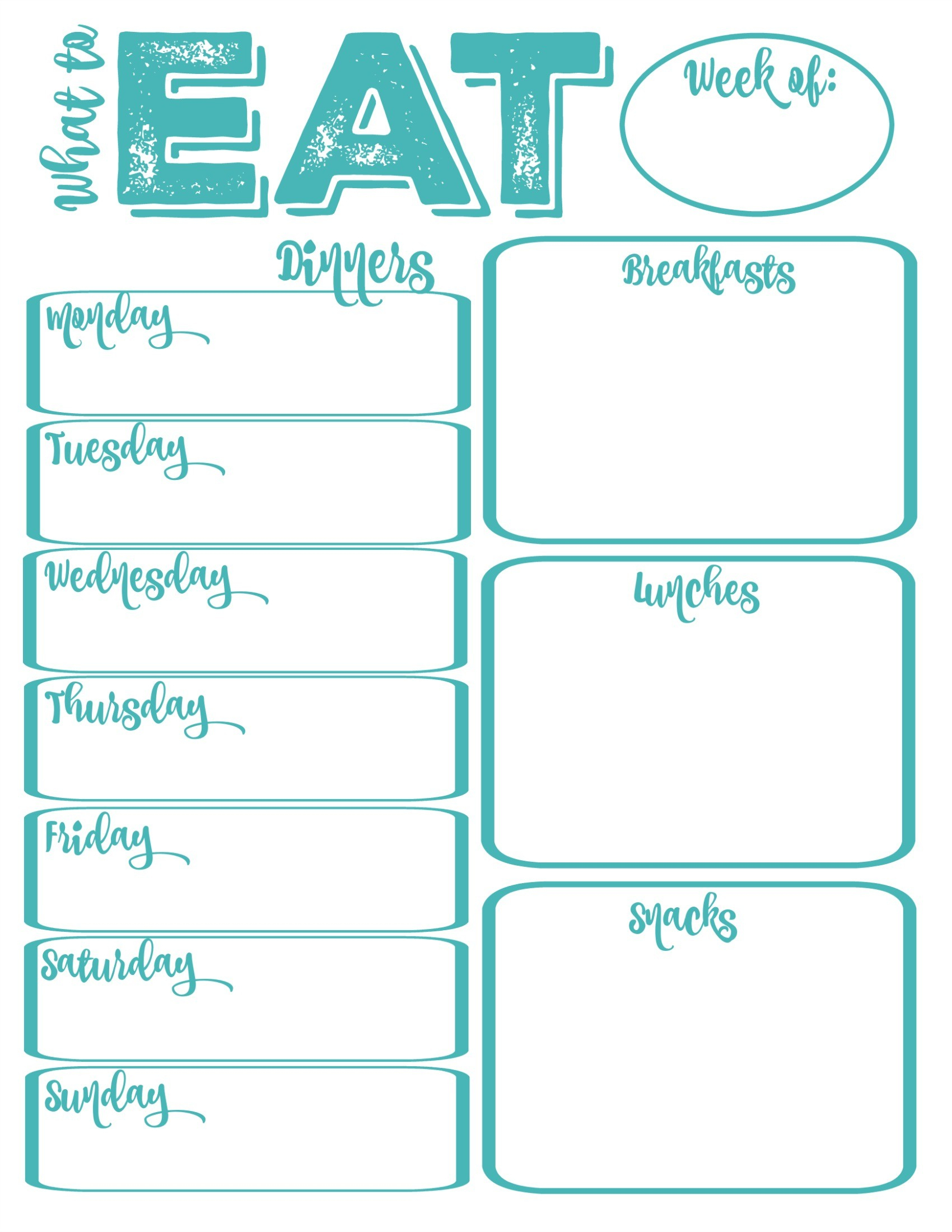 Printable Meal Calendar Pantry Makeover Free Printable Weekly Meal - Weekly Menu Free Printable