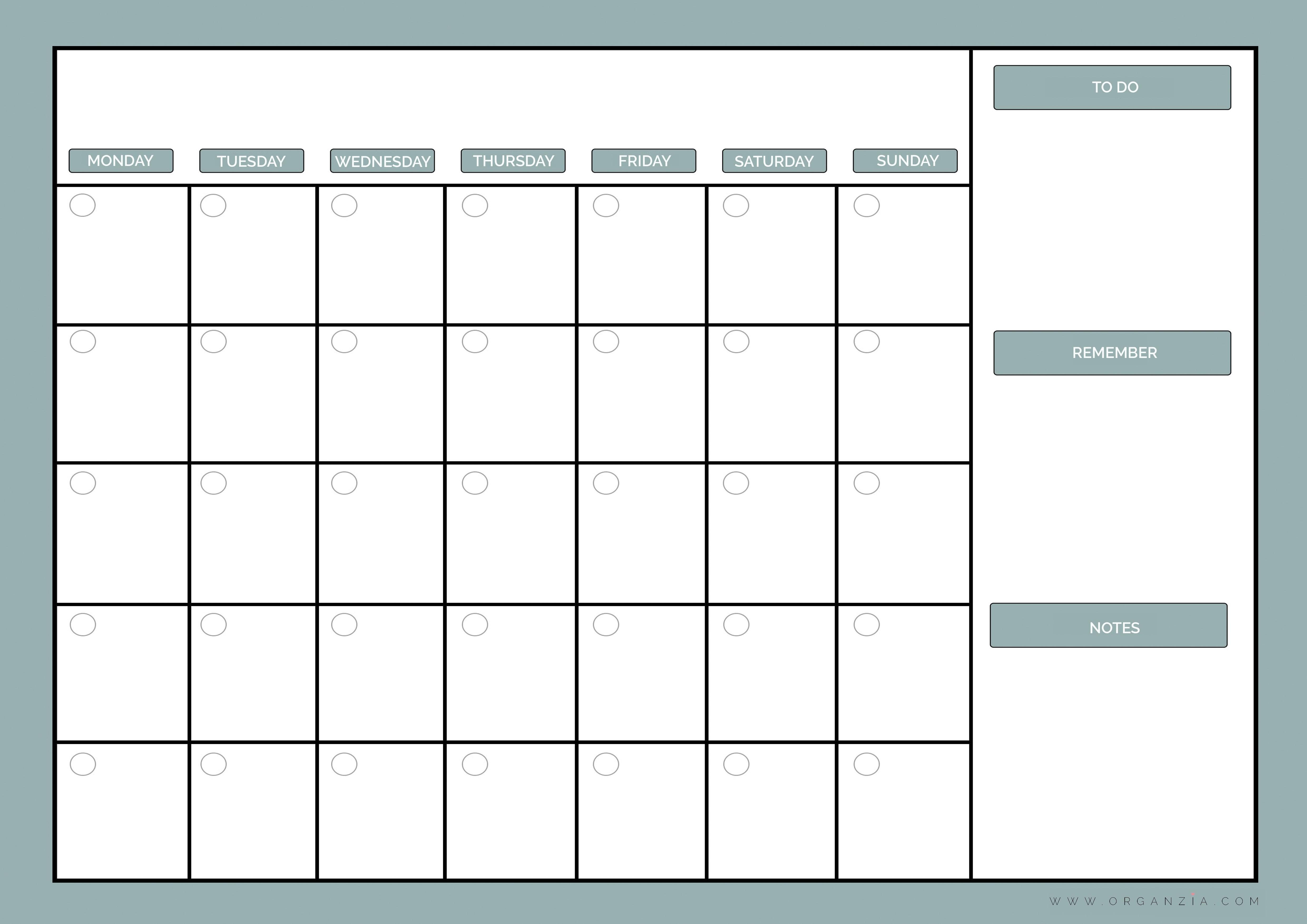 Printable Monthly Planner Calendar Diy Monthly Planner Dry Erase - Free Printable Monthly Planner