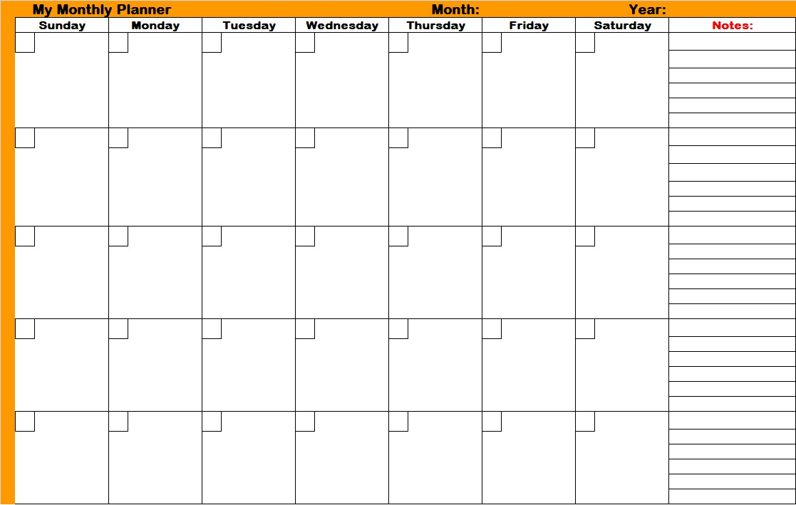 Printable Monthly Planner | Room Surf - Free Printable Monthly Planner