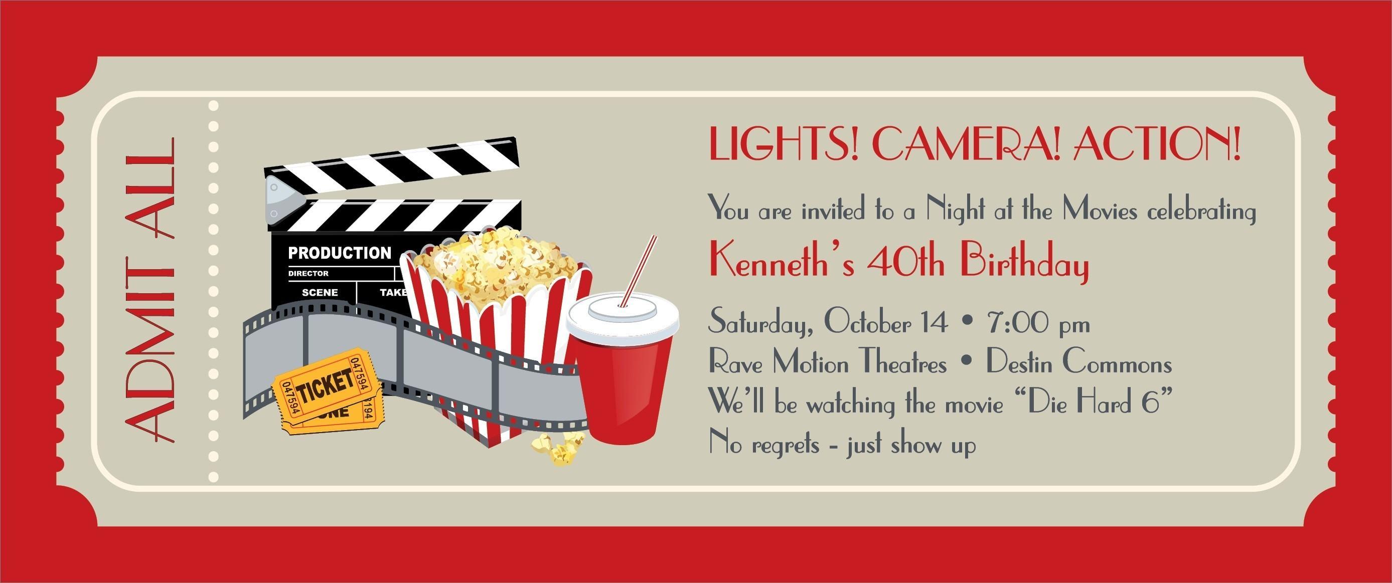 Printable Movie Ticket Invitations Free For You Invitation Templates - Free Printable Movie Ticket Birthday Party Invitations