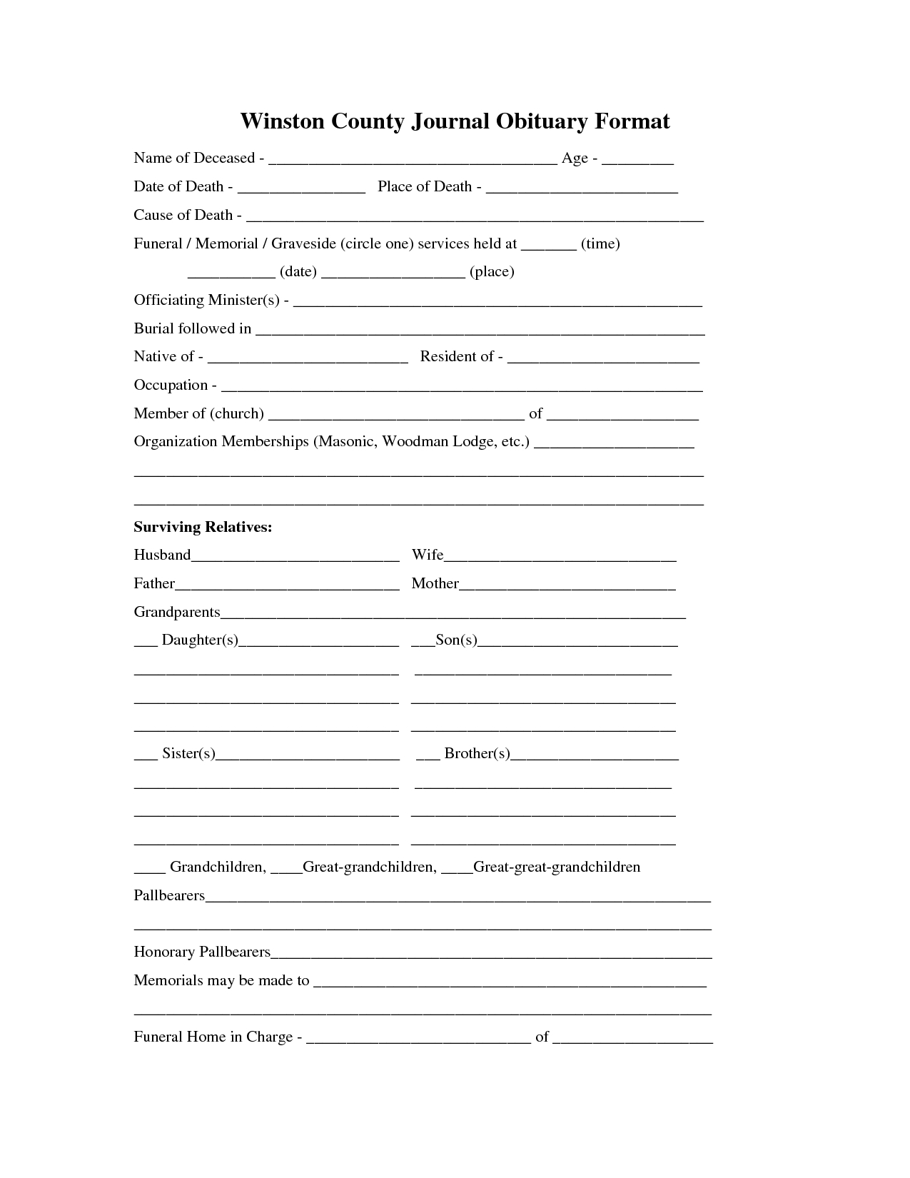 Printable Obituary Template | Fill In The Blank Obituary Template - Free Printable Obituary