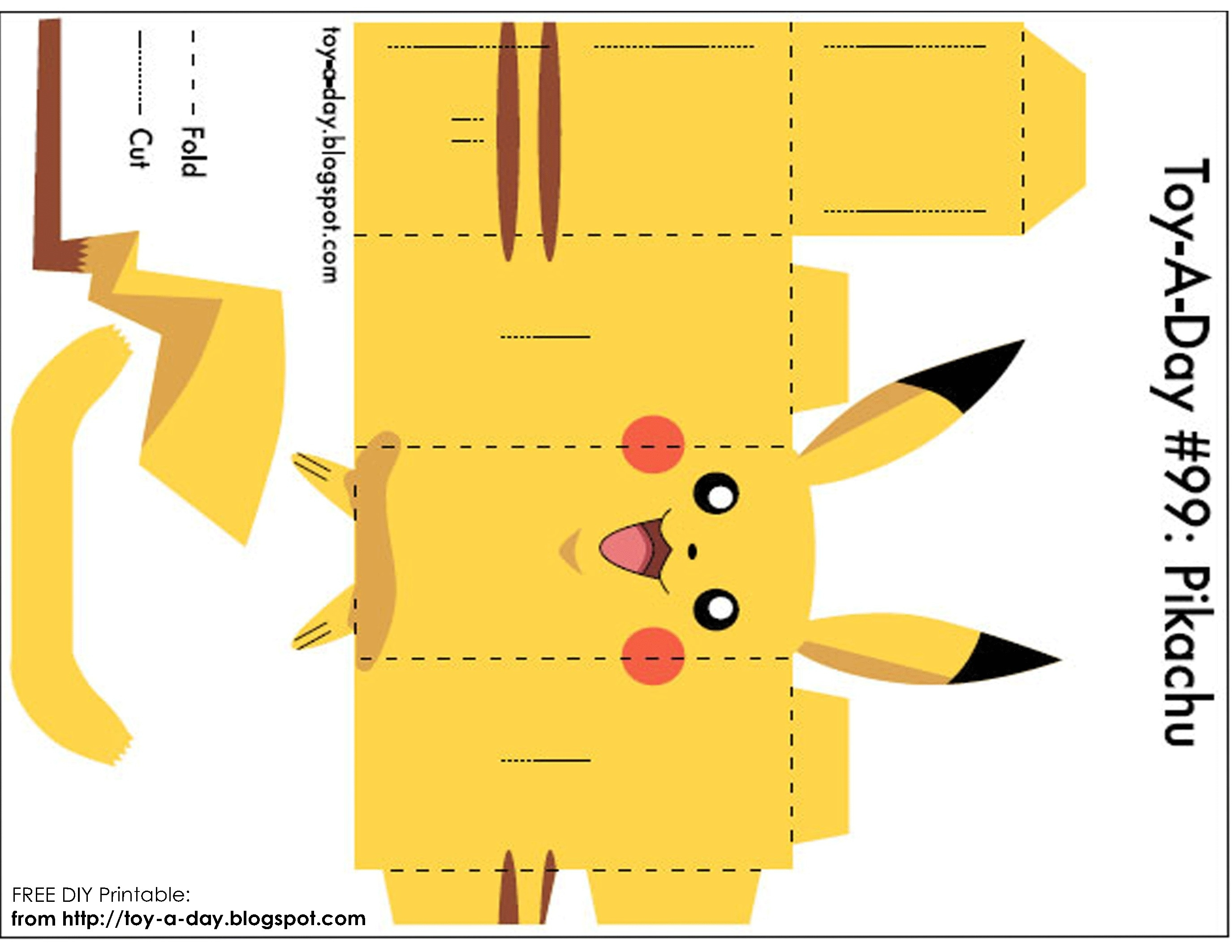 Printable Paper Crafts Pikachu | Writings And Essays Corner - Printable Paper Crafts Free