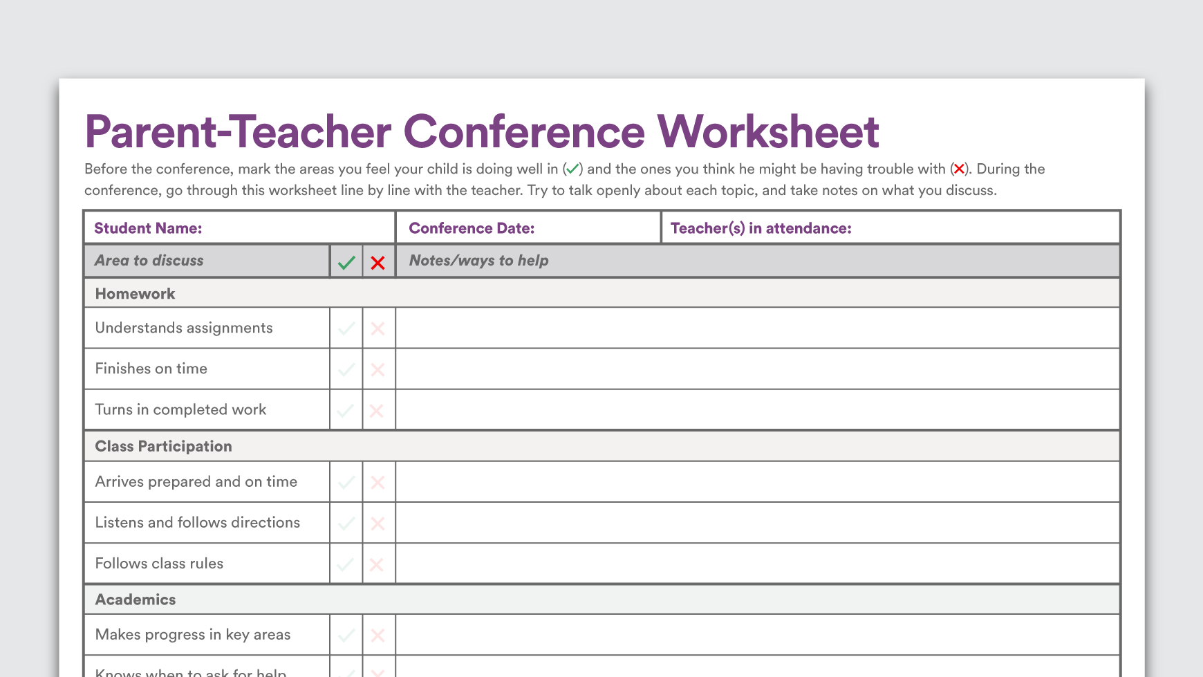 Printable Parent-Teacher Conference Worksheet - Free Printable Teacher Notes To Parents