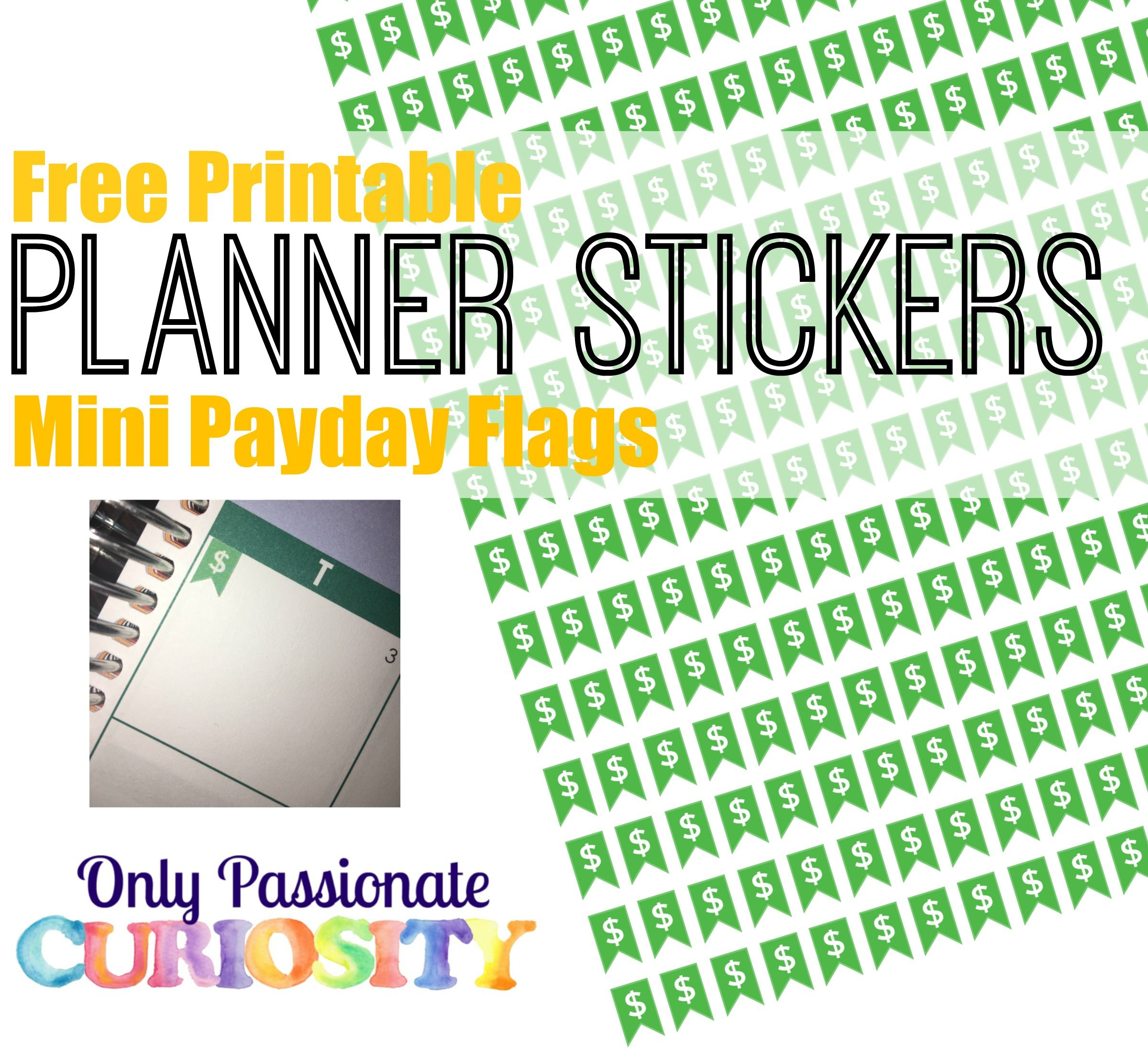 Printable Payday Flag Planner Stickers | Free Planner Stickers - Free Printable Keyboard Stickers