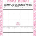 Printable Pink Damask Baby Shower Bingo Game   Bee Busy Designs   Free Printable Baby Shower Bingo