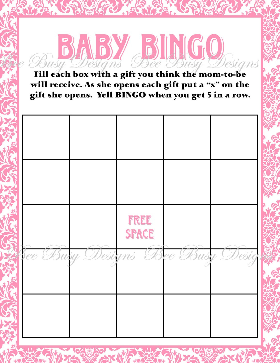 Printable Pink Damask Baby Shower Bingo Game | Bee Busy Designs - Free Printable Baby Shower Bingo
