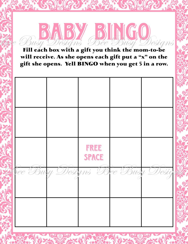 Printable Pink Damask Baby Shower Bingo Game   Bee Busy Designs - Free Printable Baby Shower Bingo