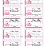Printable Pink Mom With Little Girl Owl Diaper Raffle Tickets | Free   Diaper Raffle Template Free Printable