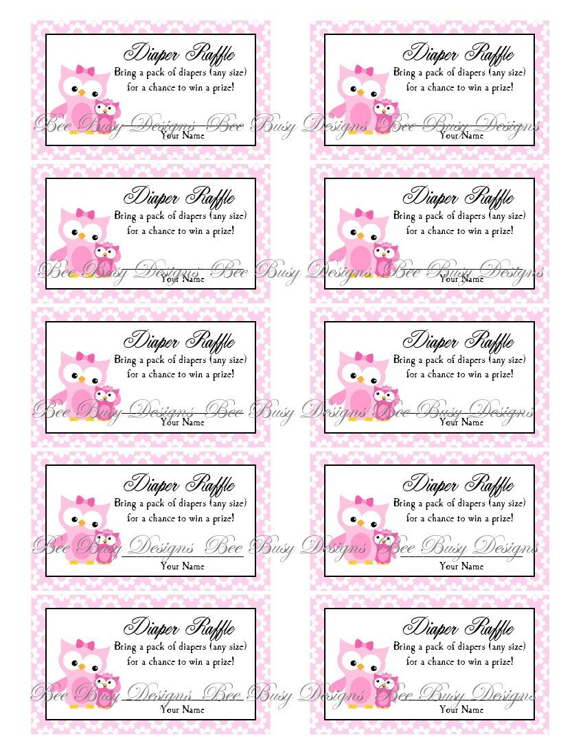 Printable Pink Mom With Little Girl Owl Diaper Raffle Tickets   Free - Free Printable Diaper Raffle Ticket Template