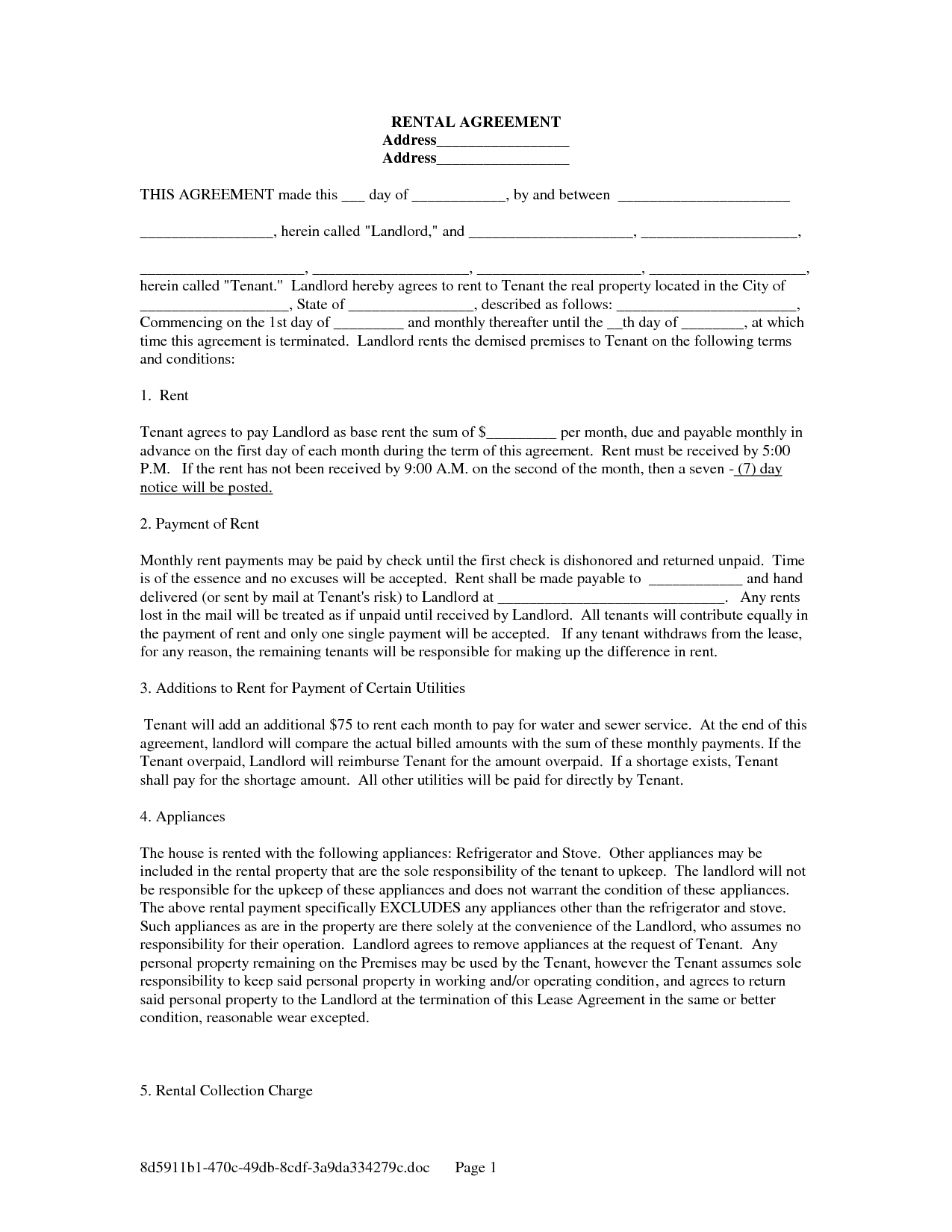 Printable Rental Lease Agreement Form For Free | Shop Fresh - Free Printable Lease Agreement Forms