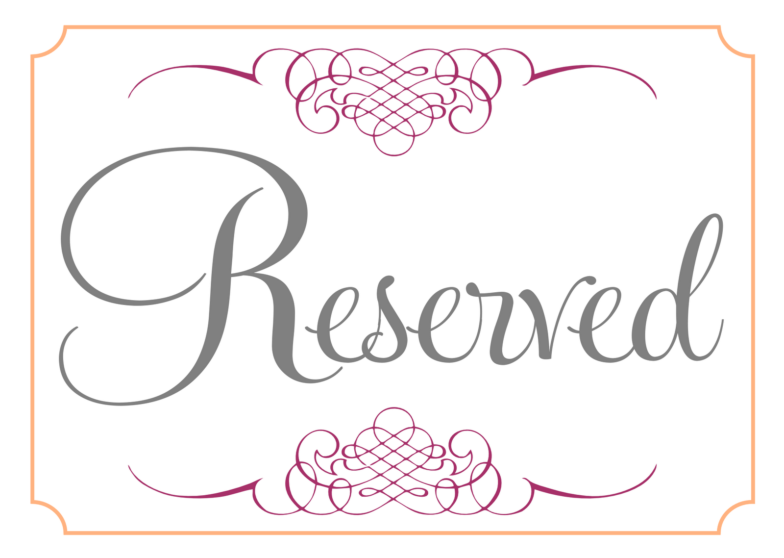 Printable Reservation Signs - 1.17.internist-Dr-Horn.de • - Free Printable Reserved Table Signs