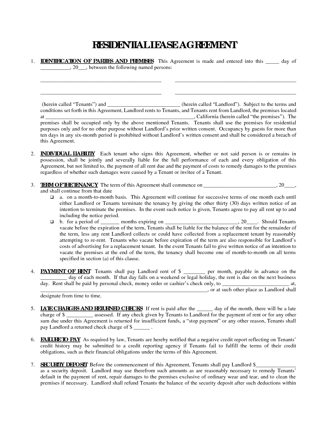 Printable Residential Free House Lease Agreement | Residential Lease - Free Printable Lease