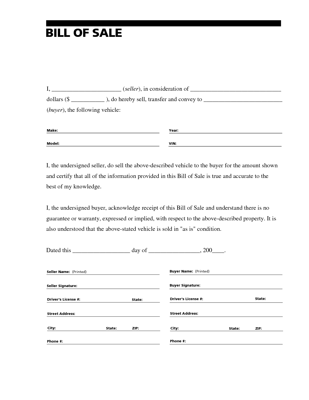 Printable Sample Free Car Bill Of Sale Template Form | Laywers - Free Printable Automobile Bill Of Sale Template