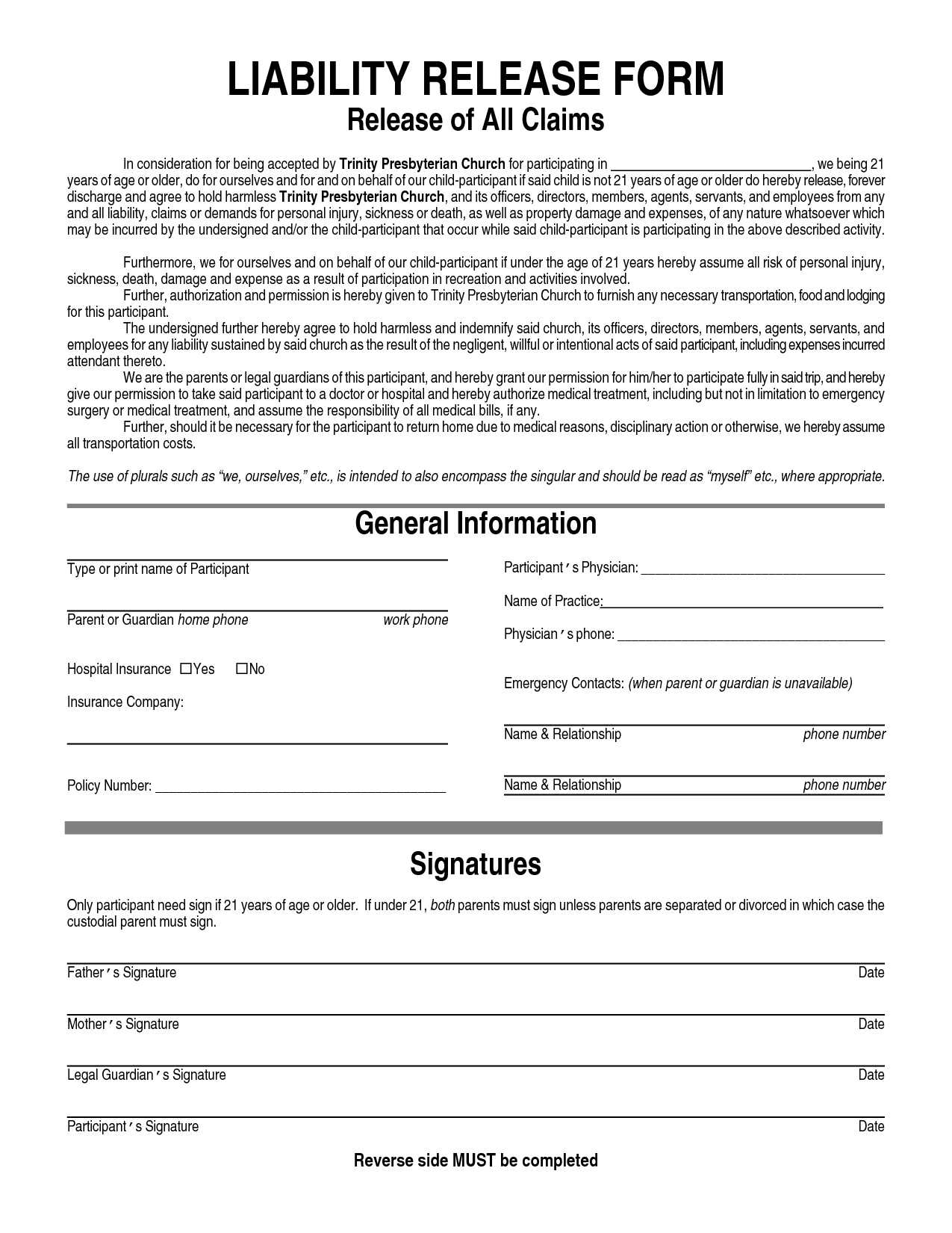 Printable Sample Liability Form Form | Free Legal Documents - Free Printable Legal Documents Forms