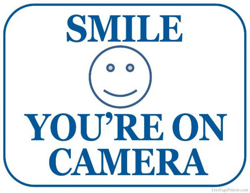 Printable Smile You're On Camera Sign | Lander Building In 2018 - Free Printable Smile Your On Camera