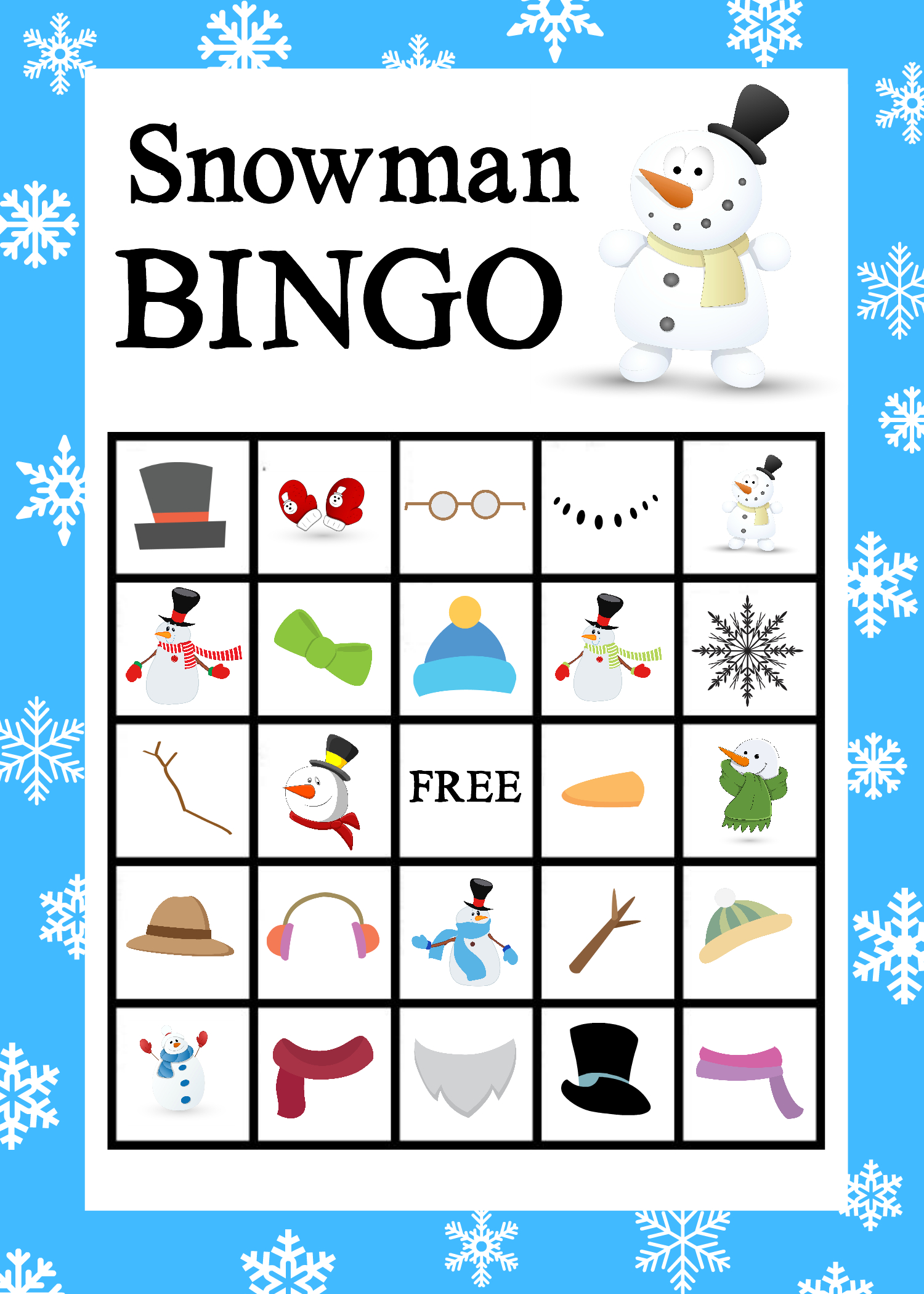 Printable Snowman Bingo Game - Crazy Little Projects - Free Bingo Patterns Printable