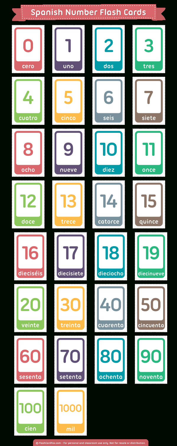 Printable Spanish Number Flash Cards - Free Printable Spanish Numbers