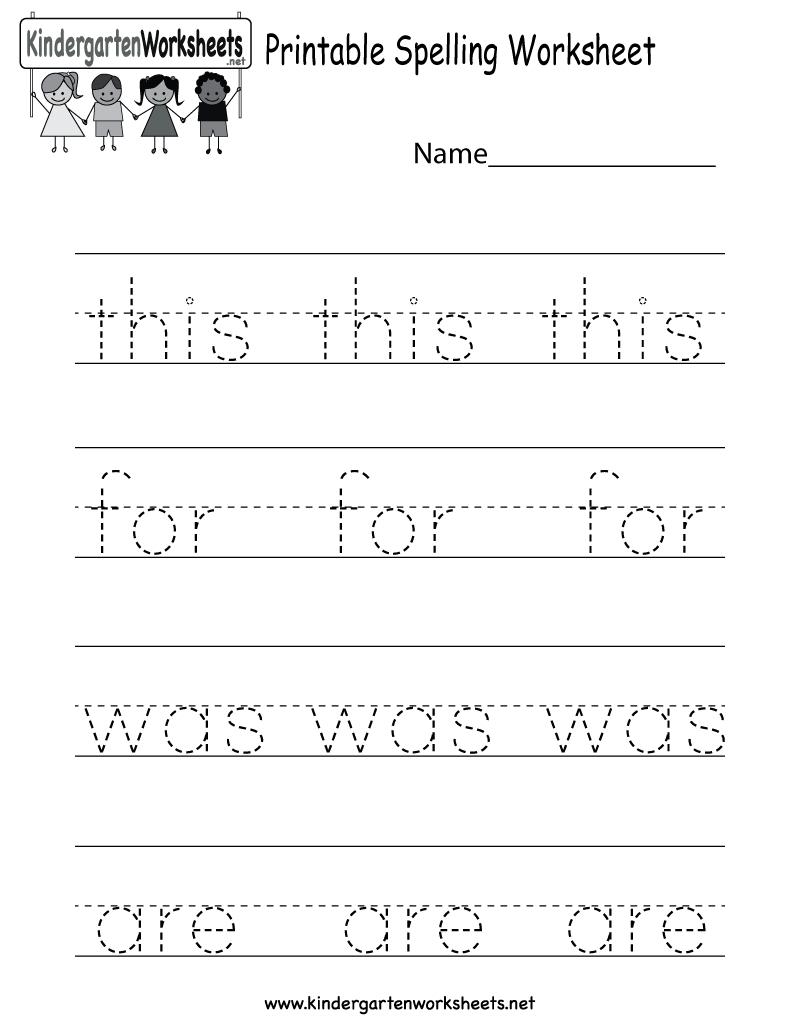 Printable Spelling Worksheet - Free Kindergarten English Worksheet - Free Printable Worksheets For Kindergarten