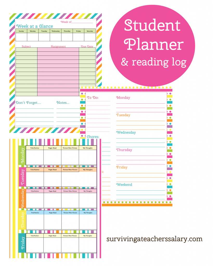 Printable Student Planner And Reading Log | Free Printables - Free Printable Student Planner