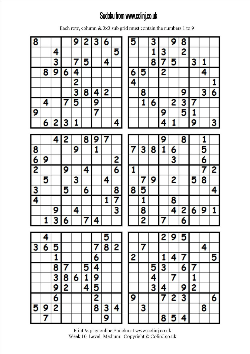 Printable Sudoku Puzzles 6 Per Page | Download Them Or Print - Free Printable Sudoku 6 Per Page