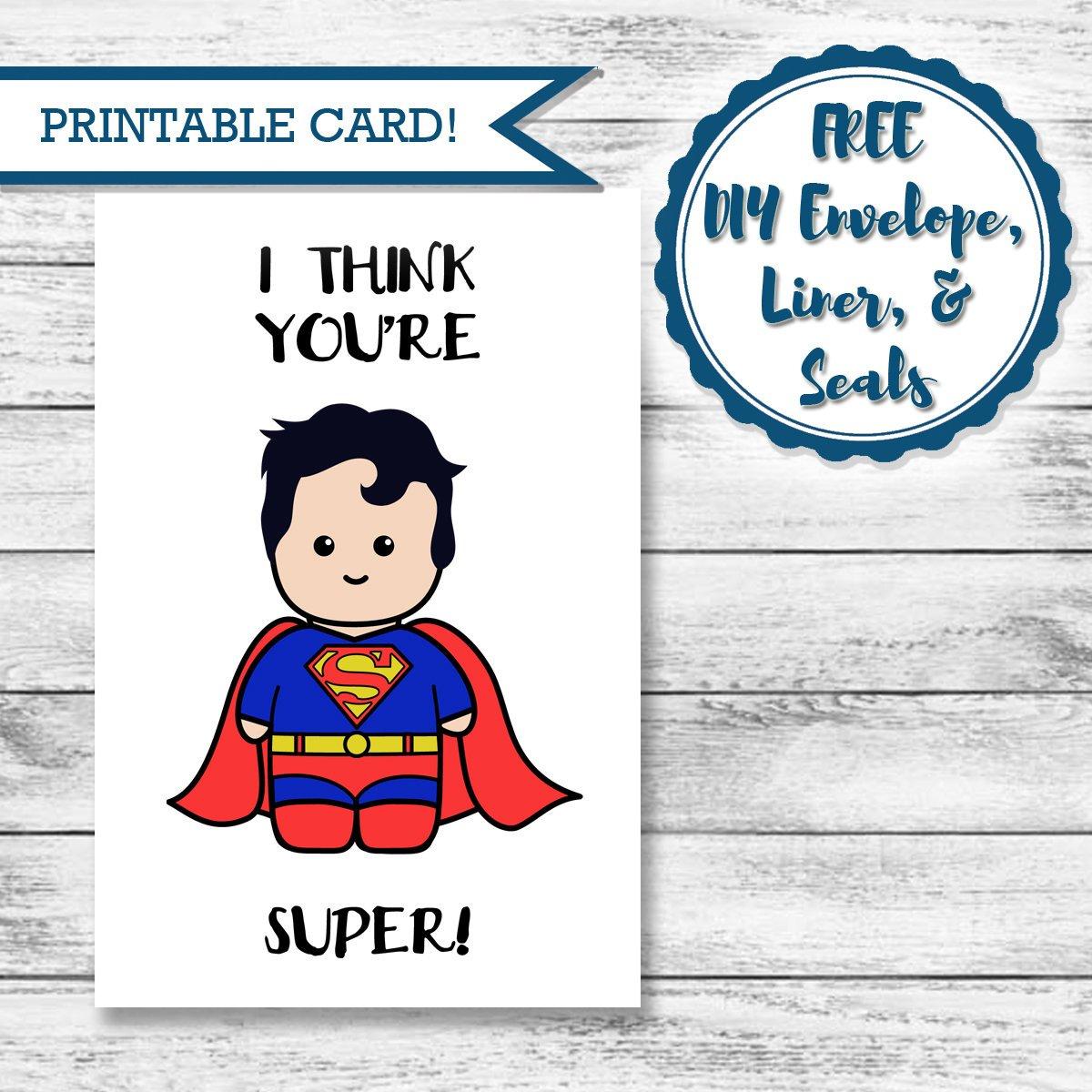 Printable Super Hero Card Superman Valentine's Day   Etsy - Free Printable Superman Valentine Cards