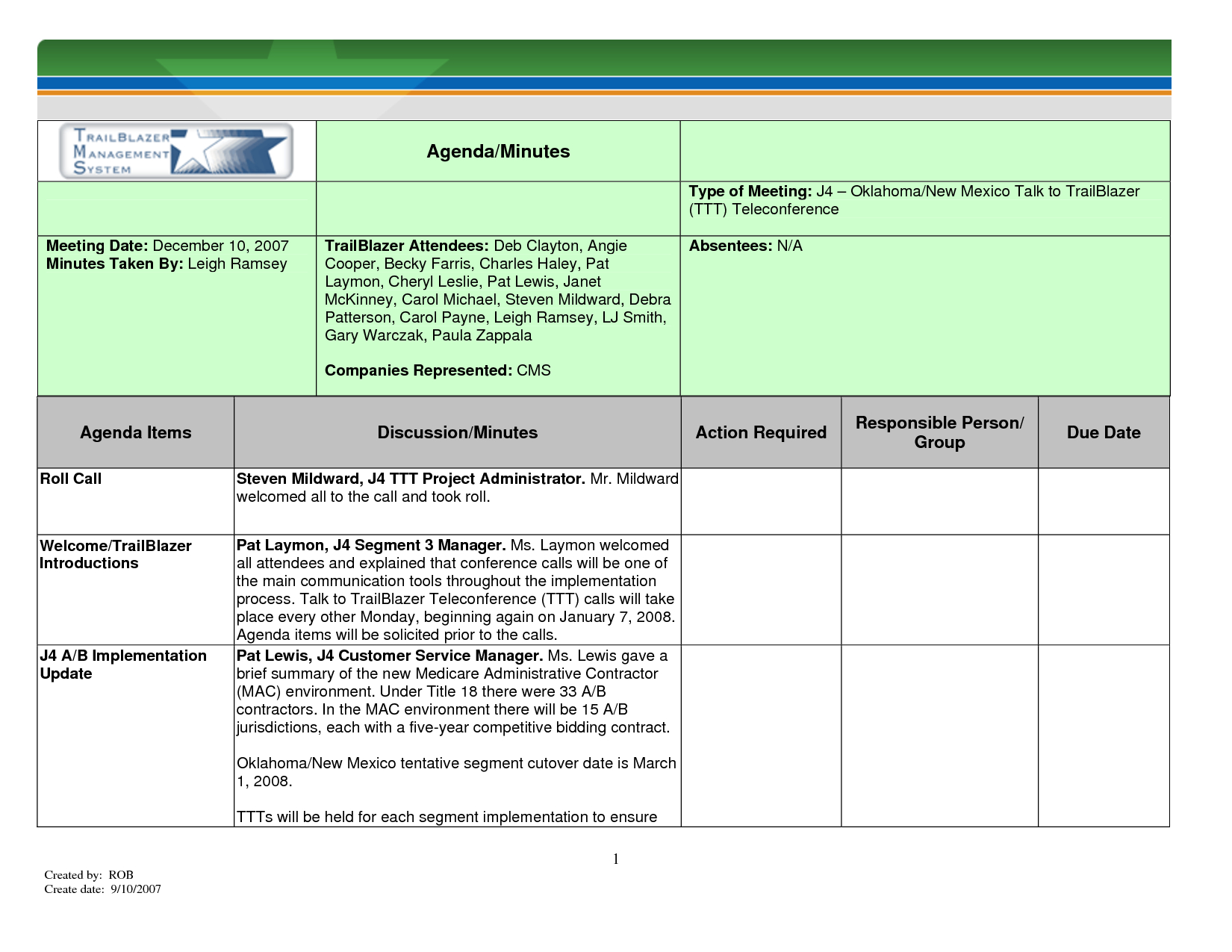 Printable Template Of Meeting Minutes | Meeting Minutes Template For - Meeting Minutes Template Free Printable
