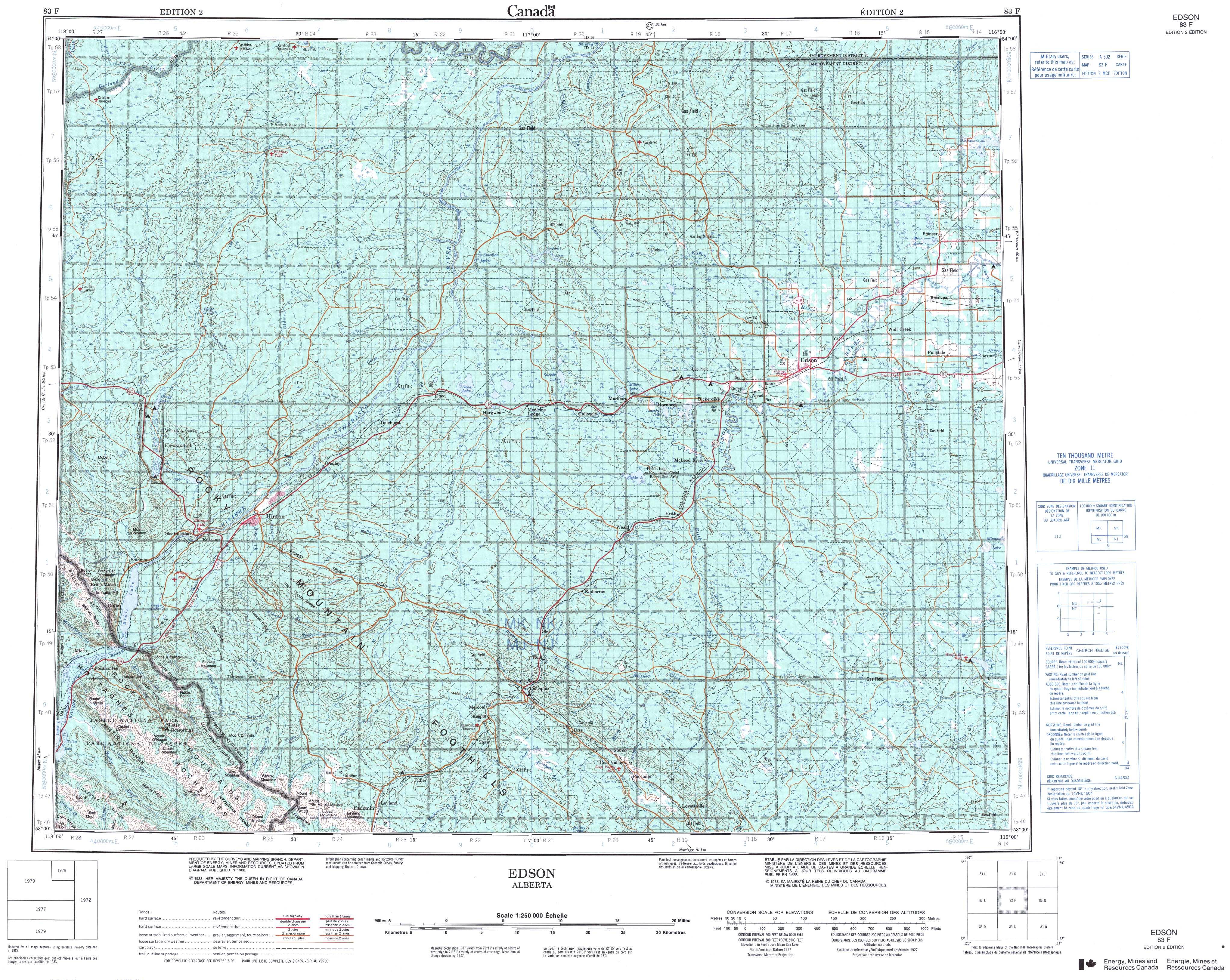 Printable Topographic Map Of Edson 083F, Ab - Free Printable Topo Maps