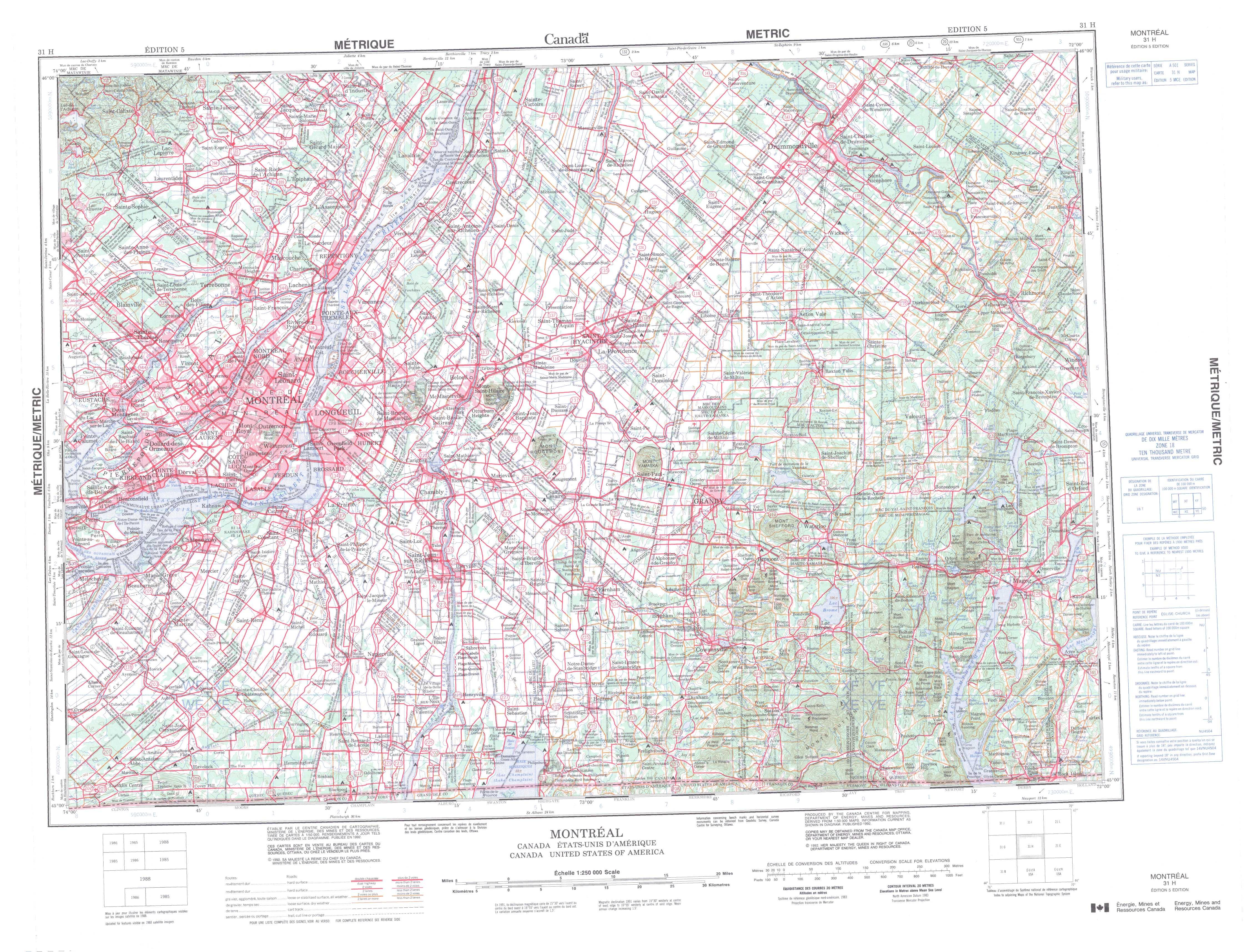 Printable Topographic Map Of Montreal 031H, Qc - Free Printable Topo Maps