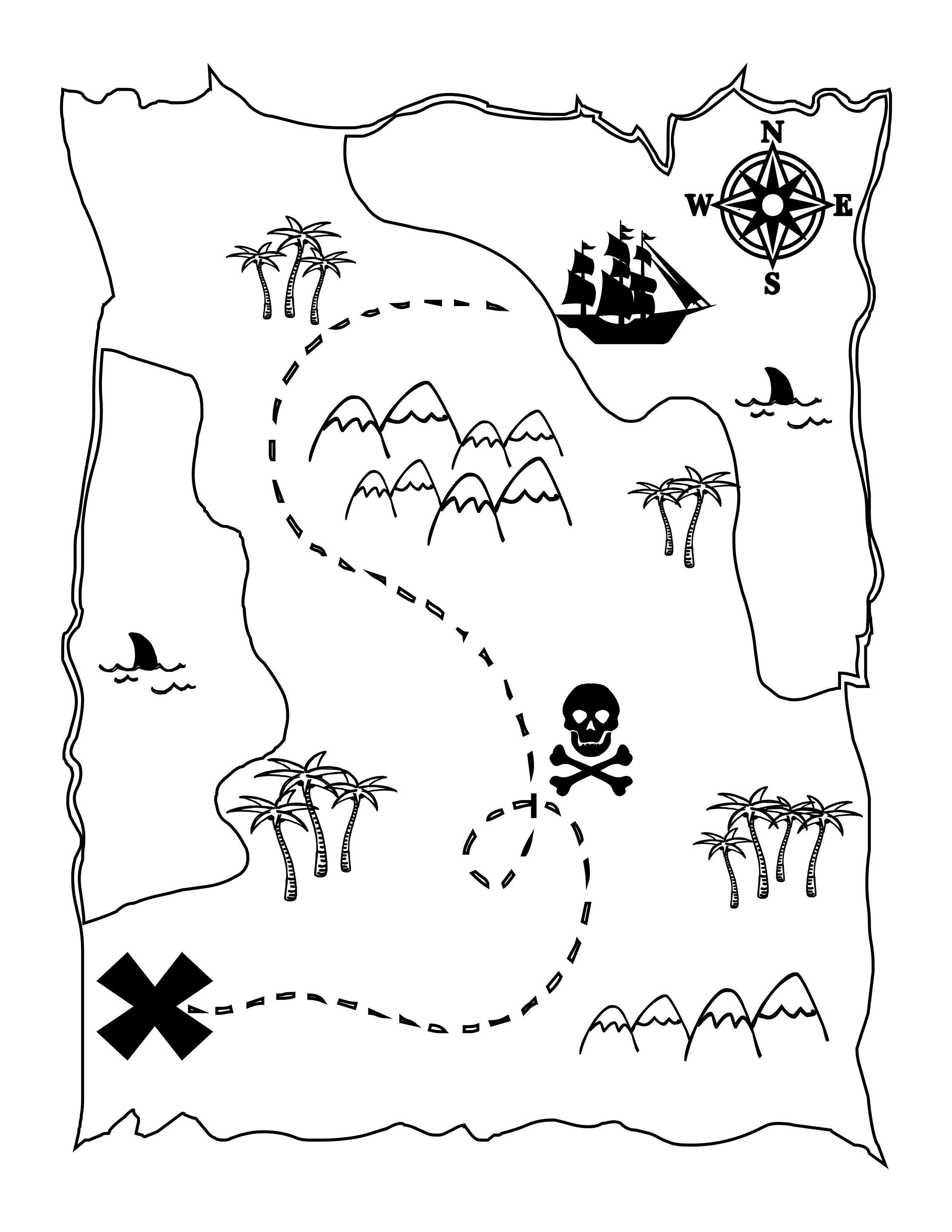 Printable Treasure Map Kids Activity | Printables | Pinterest - Free Printable Pirate Maps
